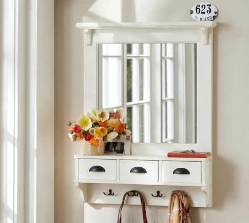 Diy mirror coat rack pb entryway organizer mirror for Hallway mirror and shelf
