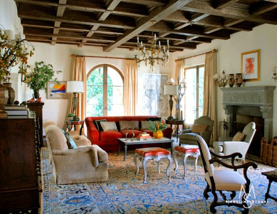 Restoration hardware moky and marisa for Spanish colonial revival living room